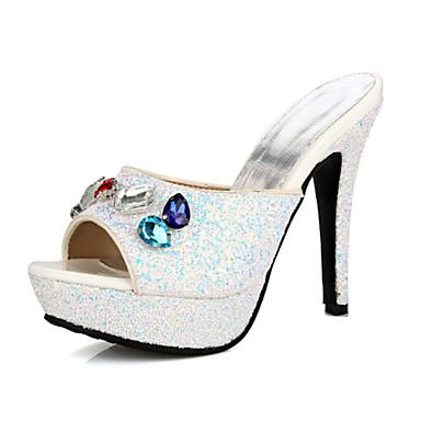 Brillante Bout 06671822 Paillette ouvert Nouveauté Aiguille Femme Blanc Noir Printemps été Bride Talon Chaussures Sandales A Arrière Strass E7OqW1