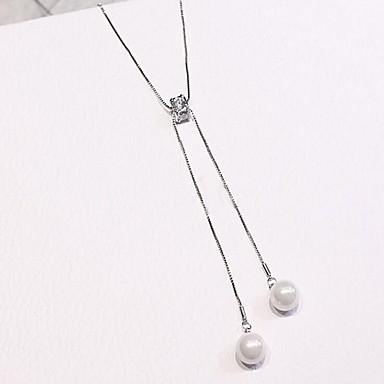 Pentru femei Zirconiu Cubic Apă dulce Pearl Coliere cu Pandativ - Perle, Teak, Argilă Modă Încântător Alb 52 cm Coliere Bijuterii Pentru Cadou, Zilnic