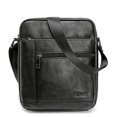 hesapli Çapraz Çantalar-Erkek Fermuar Omuz çantası Gerçek Deri Siyah / Kahverengi