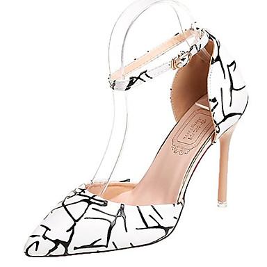 Mujer 06679075 Tacón Stiletto Verano Blanco Negro PU Zapatos Tacones Confort q4Hprq