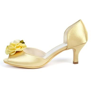 de Bleu Chaussures de mariage Fleur minuit 06716721 Escarpin Satin ouvert Kitten Basique Printemps Chaussures Bout Satin Heel Femme été en wY0qna