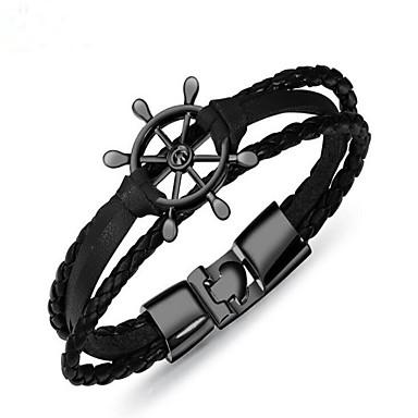 baratos Bangle-Bracelete Pulseiras de couro Geométrico Vintage Pele Pulseira de jóias Prata / Marron / Branco Frio Para Presente Diário