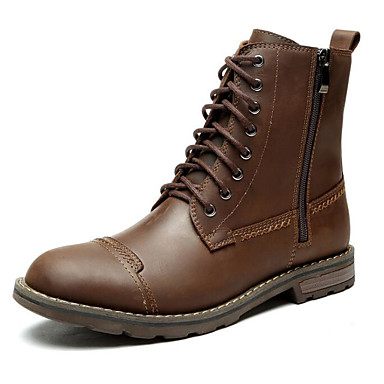 Męskie Komfortowe buty Skóra bydlęca Zima Botki Kozaki Czarny / Brązowy / Na zewnątrz / Obuwie w stylu wojskowym