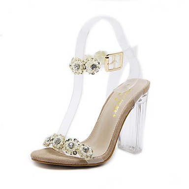 Women's Shoes Fleece Summer Pump Basic Pump Summer Sandals Chunky Heel Open Toe Rhinestone / Buckle Gold / Silver 1cfa19