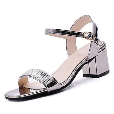 Pentru femei PU Vară Pantof cu Berete Sandale Toc Îndesat Auriu / Argintiu / Nuntă / Party & Seară / Party & Seară