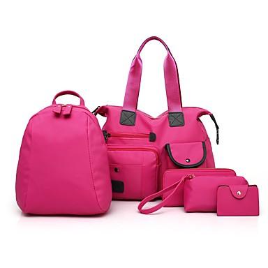 Damskie Torby Nylon torba Zestawy 5 szt. Zestaw Purse Set Zamek Black / Blushing Pink / Purple