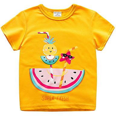Dziecko Unisex Podstawowy / Moda miejska Owoc Krótki rękaw Poliester T-shirt Żółty / Brzdąc