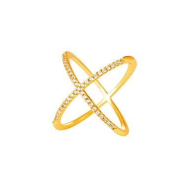 baratos Bijuteria de Mulher-Zircônia Cubica Anel X Anéis para Falanges Anel da Eternidade anel de embrulho Cobre senhoras Fashion Anéis Jóias Dourado / Prata Para Diário 6 / 7 / 8 / 9 / 10