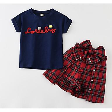 Copii Fete Activ Imprimeu Brodat Manșon scurt Bumbac Set Îmbrăcăminte