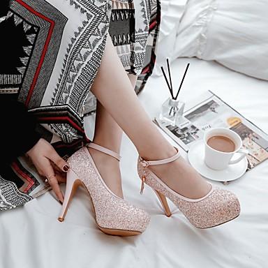 Paillette Rose Femme 06669310 Confort Talons Noir Chaussures Bout Paillettes Printemps Talon Chaussures à Vert Aiguille rond Boucle rZqprPw
