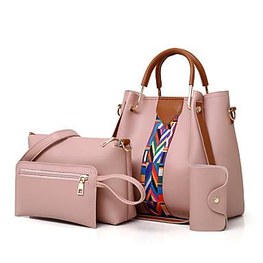 hesapli Çanta Setleri-Kadın's Fermuar Çanta Setleri PU Tek Renk 4 Adet Çanta Seti Bej / Açık Gri / Kahverengi