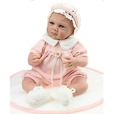 halpa Reborn Dolls-NPKCOLLECTION NPK DOLL Reborn Dolls 24 inch Vastasyntynyt elävä Lapsiturvallinen Non Toxic Käsityynyt silmäripset Keinotekoiset istutukset Siniset silmät Lasten Tyttöjen Lelut Lahja / CE / Levyke