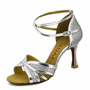 Personalizado Brillantina Corbata Mujer Tacones Alto Tacón Hebilla Sandalia Semicuero Baile Latino Lazo Zapatos Salsa De sQhtrCd