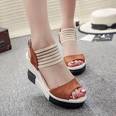 povoljno Ženske cipele-Žene Sandale Poluga pete Wedge Heel Nubuk koža Udobne cipele Ljeto Crn / Tamno smeđa / Žutomrk / EU39