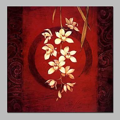 Hang-Malowane obraz olejny Ręcznie malowane - Martwa natura / Kwiatowy / Roślinny Tradycyjny Płótno / Rozciągnięte płótno