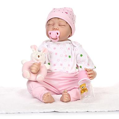 NPKCOLLECTION Lalki Reborn 22 in Silikon - Noworodek Jak żywy Śłodkie Bezpieczne dla dziecka Nietoksyczne Ręcznie nakładane rzęsy Dzieciak Dla dziewczynek Zabawki Prezent
