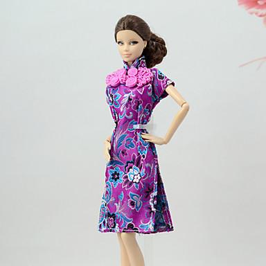 Violeta Poliéster Y Por Muñeca Juguete Lino De Barbiedoll Chica Vestido Vestidos Algodón Mezcla Kul3TcF1J