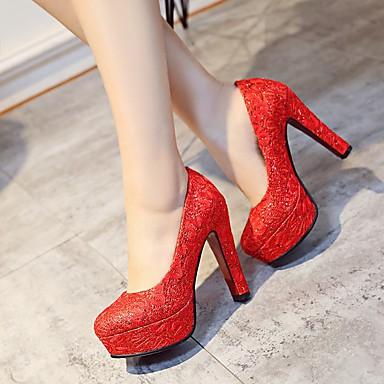 à Blanc Bottier rond 06714704 Femme Printemps Rouge Bout Flocage Basique été Escarpin Talon Mariage Or Chaussures Chaussures Talons CvC6wq0