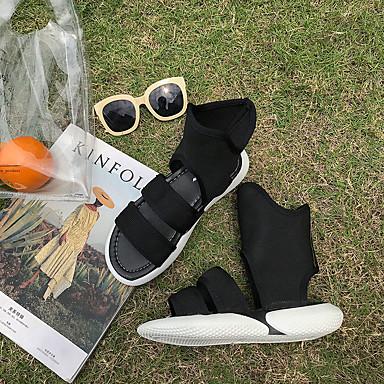 Sandalias Goma Blanco Mujer 06682945 Plano Tacón Zapatos Negro Confort Verano AqwxSwCI