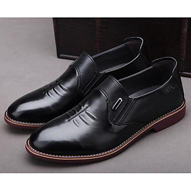 Męskie Komfortowe buty Skóra bydlęca Jesień Mokasyny i buty wsuwane Czarny / Ciemnobrązowy / Biuro i kariera