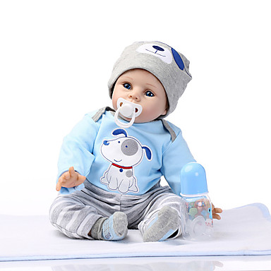 NPKCOLLECTION NPK-PUPPE Lebensechte Puppe Reborn Kleinkind Puppe 24 Zoll Silikon Vinyl - lebensecht Niedlich Geschenk Kindersicherung Non Toxic Handaufgetragene Wimpern Kinder Unisex / Mädchen / ASTM