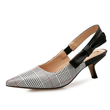 Pentru femei Pantofi PU Primavara vara Pantof cu Berete Tocuri Toc Mic Vârf ascuțit Gri / Nuntă / Party & Seară / Party & Seară