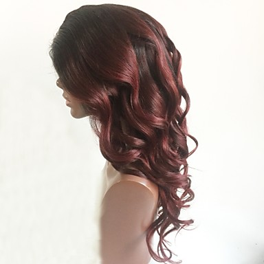Remy Human Hair Lace Front Wig Brazilian Hair Wavy Burgundy Wig