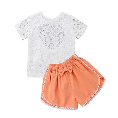 Copil Fete Mată / Floral Manșon scurt Set Îmbrăcăminte