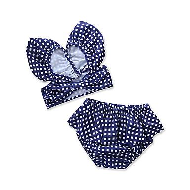 baratos Roupas de Banho para Meninas-Infantil Bébé Recém-Nascido Para Meninas Vintage Sofisticado Feriado Praia Azul e Branco Houndstooth Xadrez Quadriculada Peplum Frente Única Com Corte Sem Manga Algodão Roupa de Banho Azul Real