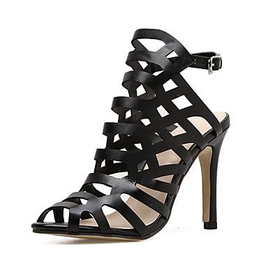 Pentru femei Pantofi PU Vară Gladiator Sandale Toc Stilat Pantofi vârf deschis Cataramă Negru / Party & Seară / Party & Seară
