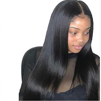 Virgin Human Hair Full Lace Wig Brazilian Hair Straight Black Wig