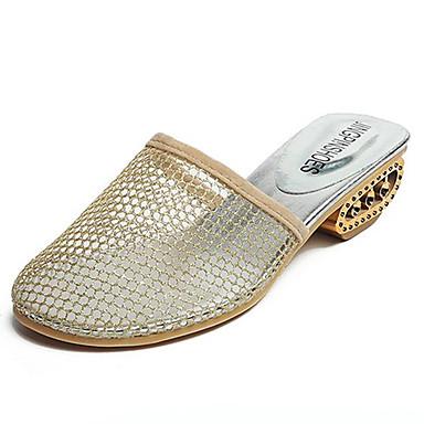 06701878 Cuadrado Descubierto Talón PU Mujer Dorado y Tacón pantuflas Verano Negro Zuecos Zapatos Confort aOFxSR
