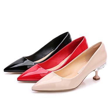 Cuir Fourrure Basique à Strass Talons Heel Femme Escarpin été 06713959 Noir Kitten Chaussures Chaussures Verni Bout pointu Fausse Printemps tqWEw8