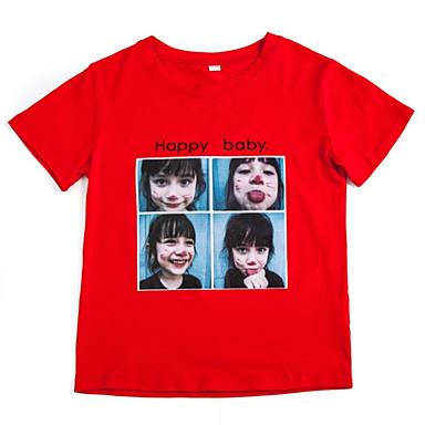 Dzieci Dla dziewczynek Podstawowy Codzienny Nadruk Nadruk Krótki rękaw Regularny Bawełna / Poliester T-shirt Biały 140