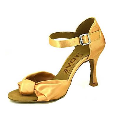 للمرأة أحذية رقص / أحذية سالسا ستان صندل / كعب مشبك / عقدة شريطة كعب مخصص مخصص أحذية الرقص برونز / اللوز / عاري / أداء / جلد / متخصص