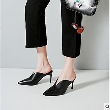 Blanc Aiguille Confort Cuir amp; Printemps 06665814 Eté Noir Chaussures Talon Femme Sabot Mules xnqzv4FIp