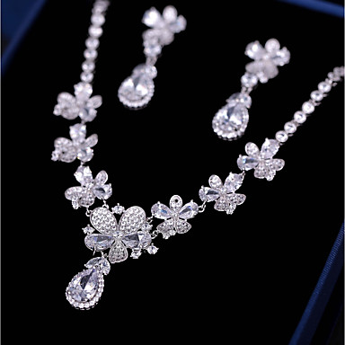 e7f26af13d4d Γυναικεία Cubic Zirconia Κοσμήματα Σετ Λουλούδι Μοντέρνα Περιλαμβάνω  Κρεμαστά Σκουλαρίκια Κρεμαστά Κολιέ Λευκό Για Γάμου Αρραβώνας   Cercei
