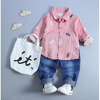 Bebelus Băieți Geometric Manșon Lung Set Îmbrăcăminte