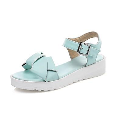 Pentru femei Pantofi PU Primavara vara Confortabili Sandale Toc Drept Vârf deschis Funde / Cataramă Alb / Roz / Albastru Deschis