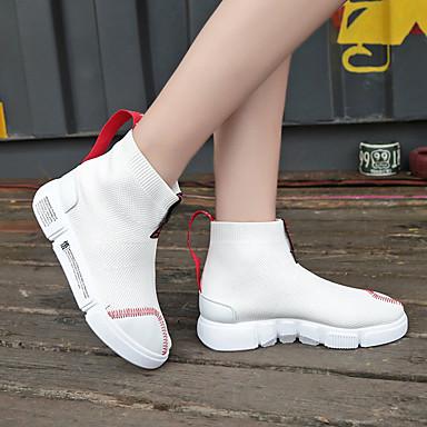 Bottine Marche Blanc 06766297 Botte Mode Bout à hiver rond Demi Polyuréthane Automne Bottes Noir Talon la Confort Femme Plat Chaussures Basket wvRqUvZ