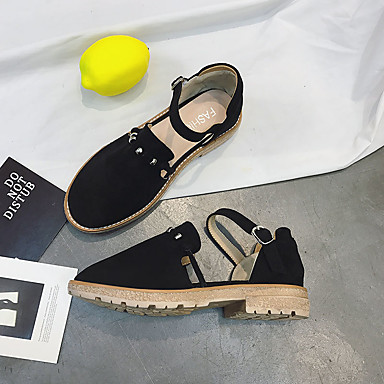 Mujer Negro 06728586 Piezas redondo Dedo Caqui Dos Aterciopelado Verano PU D'Orsay Zapatos Cuadrado Tacón y Sandalias grRwqg