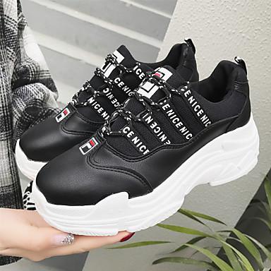 Tulle rond Femme Bout Polyuréthane Confort Blanc Basket Chaussures Noir Talon Printemps Marche 06727940 été Plat ZZHPA1qS