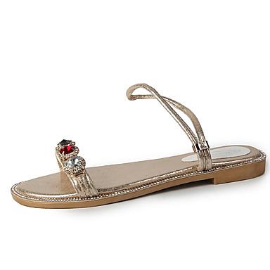 Pentru femei Pantofi PU Vară Pantof cu Berete Sandale Toc Drept Piatră Semiprețioasă Auriu / Negru / Argintiu