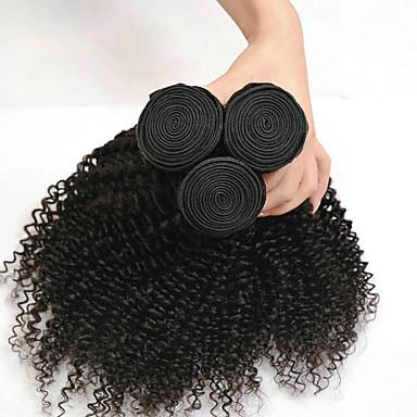 baratos Extensões de Cabelo Natural-3 pacotes Cabelo Indiano Kinky Curly 8A Cabelo Humano Peça para Cabeça Extensor Extensões de Cabelo Natural 8-28 polegada Preta Côr Natural Tramas de cabelo humano Macio Clássico Melhor qualidade