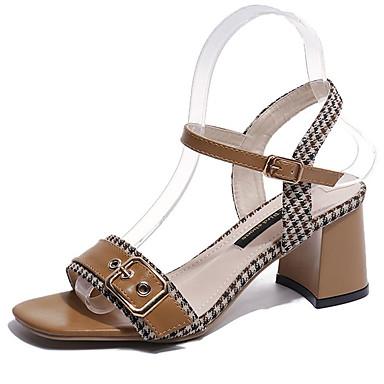 Pentru femei Pantofi PU Vară Pantof cu Berete Sandale Toc Îndesat Bej / Maro Deschis
