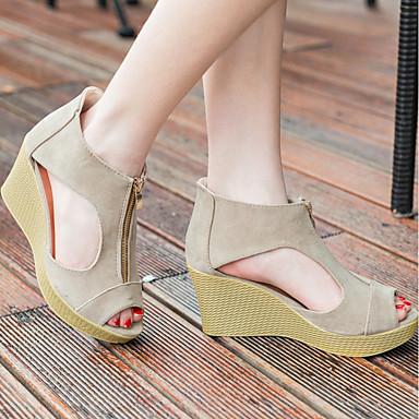 Negro Almendra Mujer Zapatos Tacón Sandalias 06764690 Cuña Ante Verano Confort q8wg0cqf