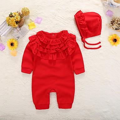Bebelus Fete De Bază Mată Ruched Manșon Lung Bumbac O - piesă