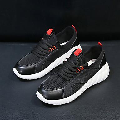 06755482 Zapatos Zapatillas redondo Blanco Mujer de Tela Plano PU Negro Dedo Running Tacón Verano Elástica Confort Atletismo xaFUwfqRF