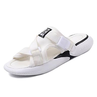 Pentru femei Pantofi PU Vară Confortabili Papuci & Flip-flops Toc Drept Vârf rotund Alb / Negru / Rosu