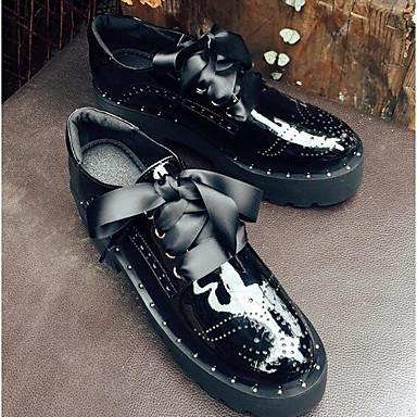 Femme Basket Bout Verni fermé été Cuir Printemps Cuir 06766993 Nappa Confort Noir Creepers Chaussures I8rvI